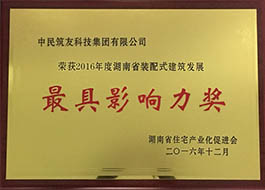 Award of Hunan Precast Construction Development