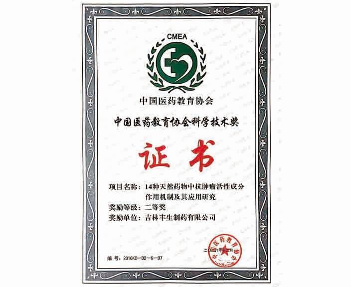 中国医药教育协会科学技术奖 证书