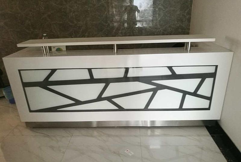 白色现代简约设计烤漆前台桌