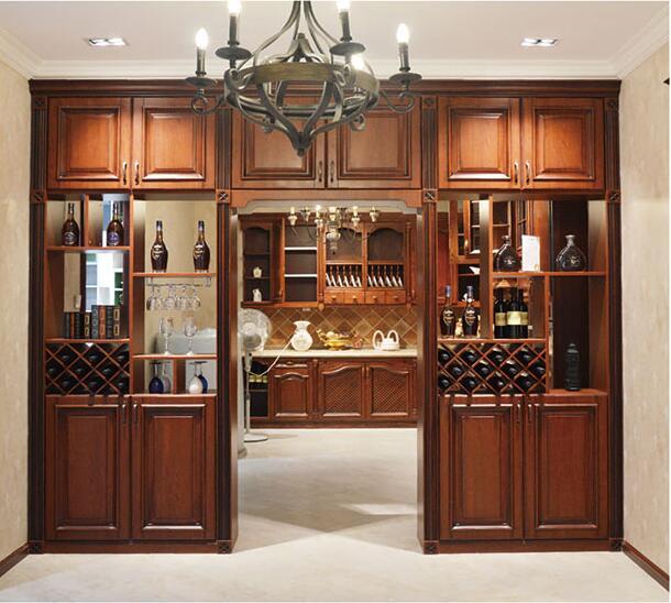 美式仿古做旧实木樱桃酒柜