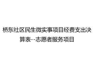 桥东社区民生微实事项目经费支出决算表--志愿者服务项目