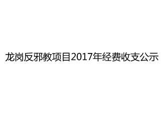 龙岗反邪教项目2017年经费收支公示表