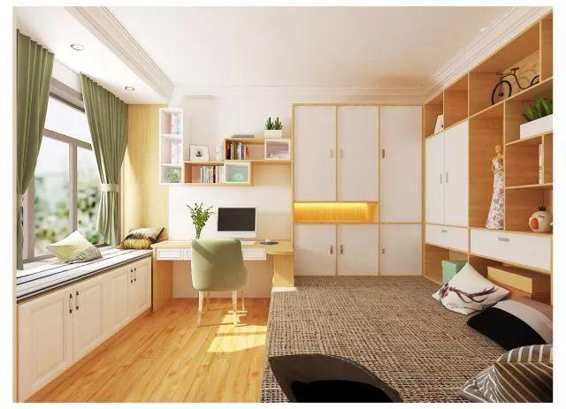 简易的书桌与开放性格子吊柜形成一个阳光充足的学习区.