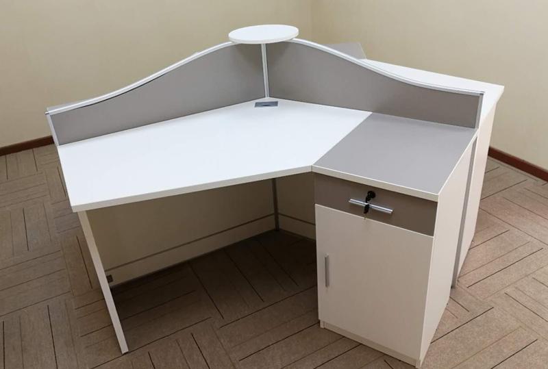 现代时尚白开放式L型员工办公卡位职工办公桌