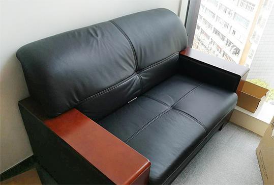 黑色皮质二人位办公沙发、休闲沙发