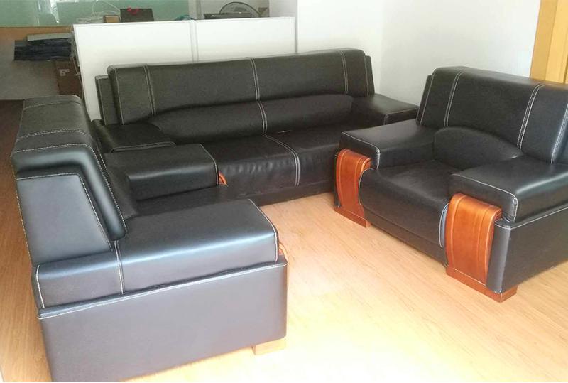 黑色皮艺办公沙发、休闲沙发