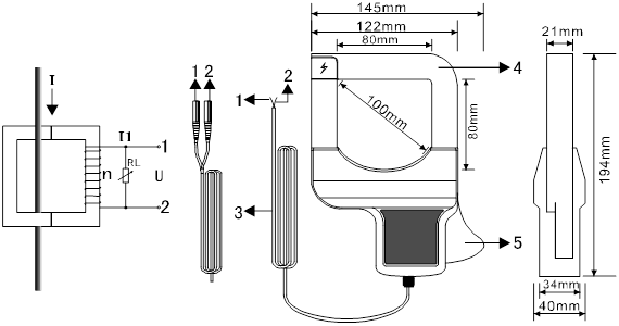ETCR080A Large Caliber Clamp current sensor