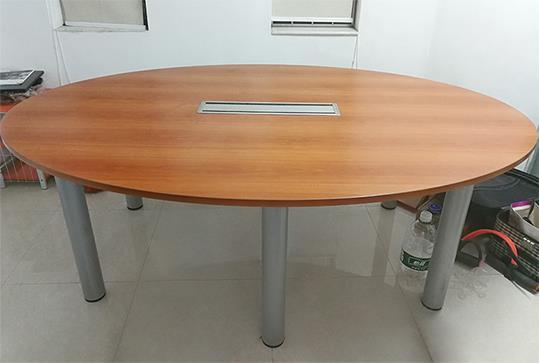 椭圆形木纹时尚办公会议桌、洽谈桌