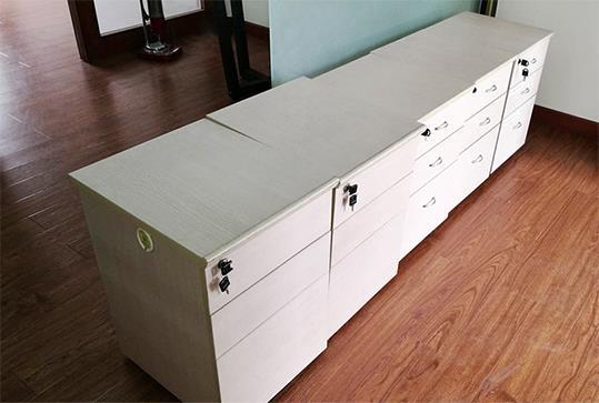 简约白色木纹三抽办公文件柜