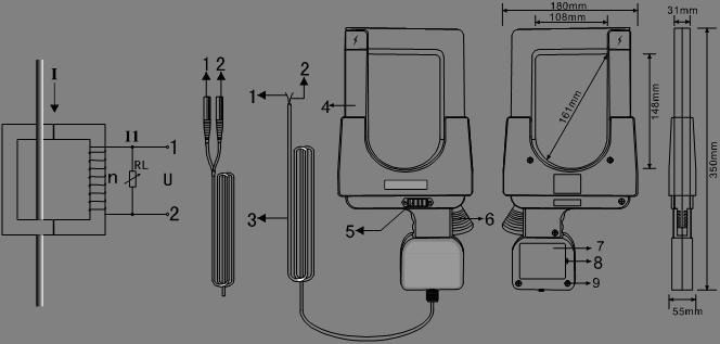 ETCR148A Super-large Caliber Clamp Current Sensor