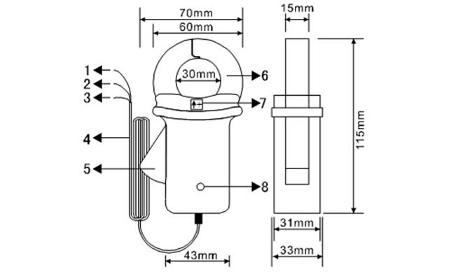 ETCR030D1 high-precision clamp DC leakage current sensor