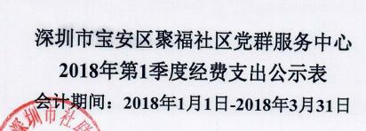 2018年社区中心第一季度支出公示表(聚福)
