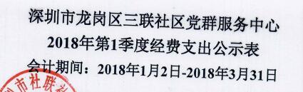 2018年社区中心第一季度支出公示表(三联)