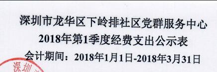 2018年社区中心第一季度支出公示表(下岭排)