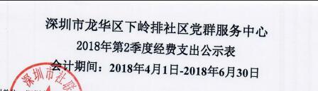 2018年社区中心第二季度支出公示表(金排)