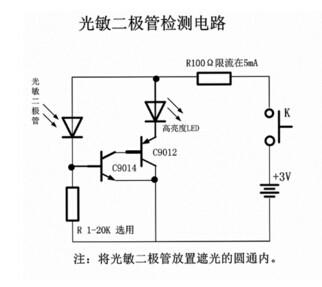 用万用表检测红外线光敏二极管首先将万用表置于r×1k档,测量