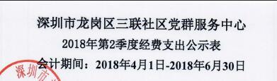 2018年社区中心第二季度支出公示表(三联)