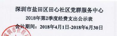 2018年社区中心第二季度支出公示表(田心)