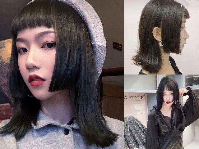 ① 后发是黑长直,发尾剪平 ② 额头刘海在眼眉的高度剪平 ③ 垂在图片