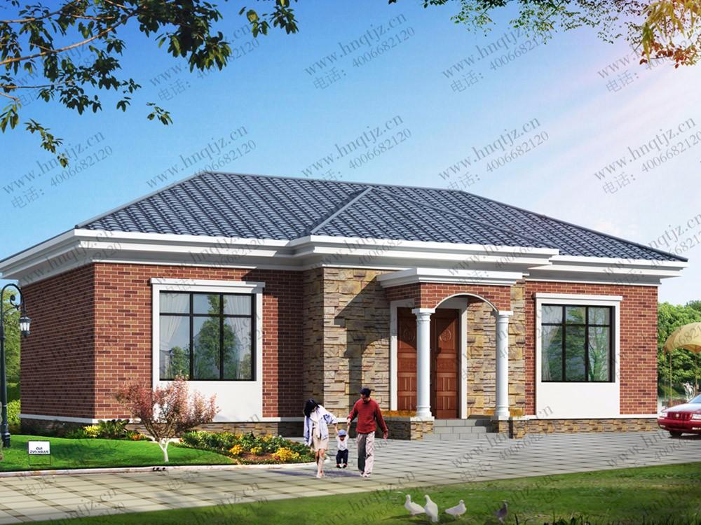 农村一层中式自建房屋设计图纸及效果图_徽派房子设计图纸