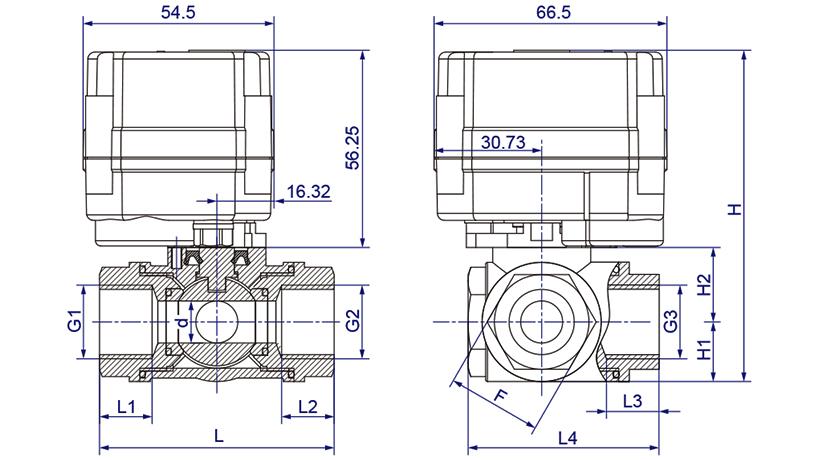 OSAWQ914/15系列微型电动三通球阀(卧式三通)