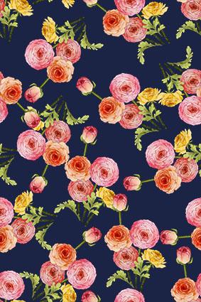 密集粉艳绿芽花朵、