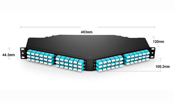 1U 144 Fibers  MTP/MPO  to LC Breakout Angled Patch Panel