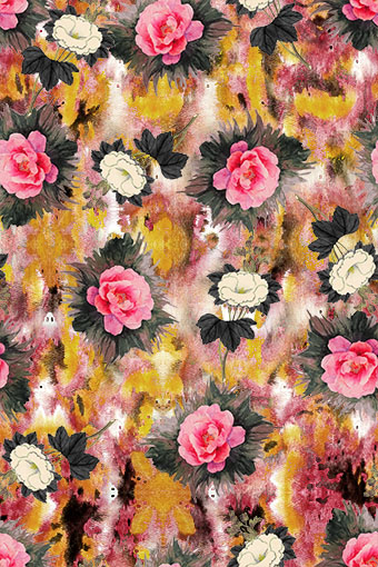 纹理色彩迷墙盆花