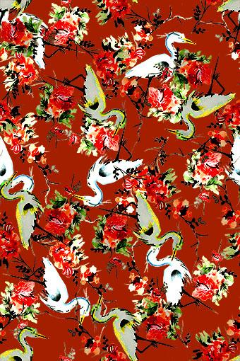 红底丹顶鹤手绘花