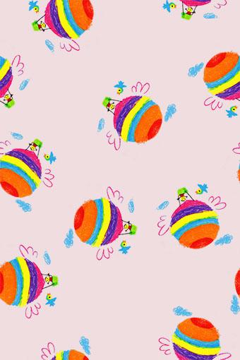 粉底涂鸦色彩气球