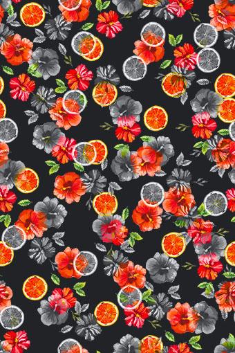 橙子手绘色彩花朵
