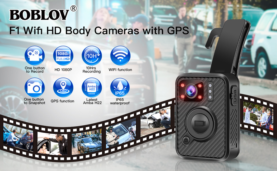 BOBLOV 1440P 2K Body Mounted Worn Camera WiFi Police Camera 10Hs Recording with GPS Night Vision Amba Latest H22 Technology