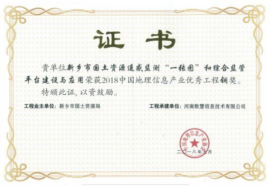 中国地理信息产业优秀奖