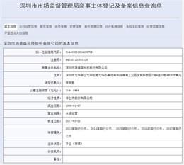 深圳市市场监督管理局商事主体登记及备案信息查询单