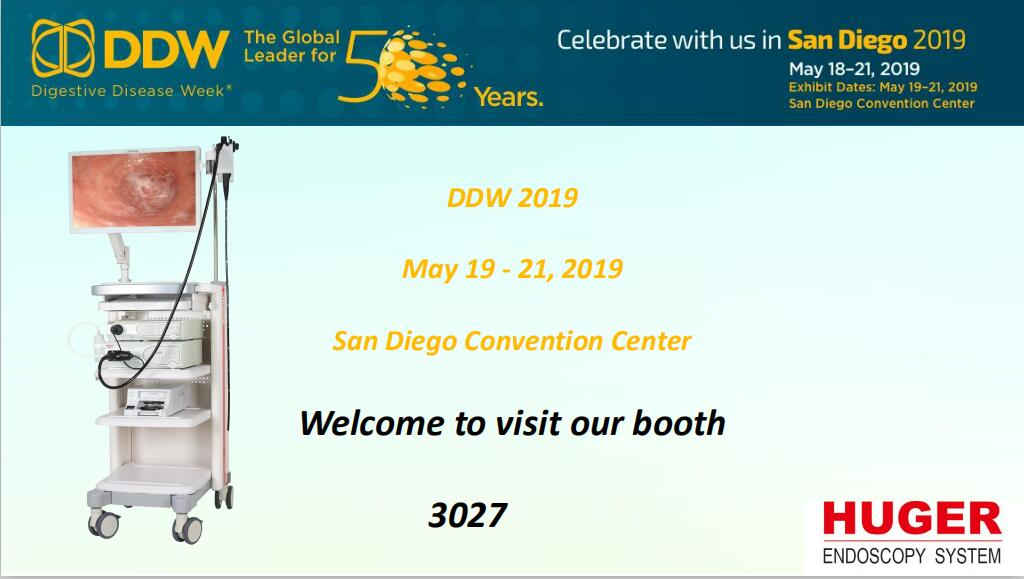 Huger attends DDW 2019 with FHD 3000 endoscopy system