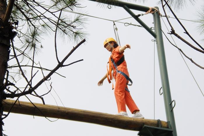 户外高空拓展项目:平衡木