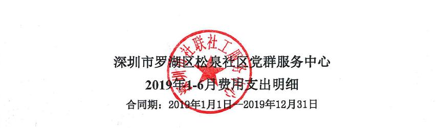 松泉社区2019年1-6月费用支出明细