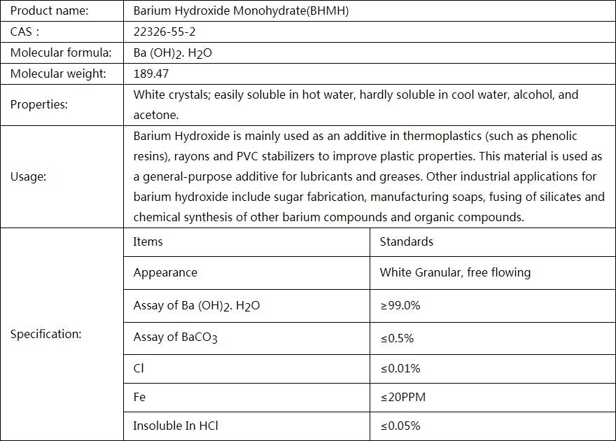 Barium Hydroxide Monohydrate(BHMH)