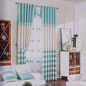 经典条纹棉麻卧室窗帘