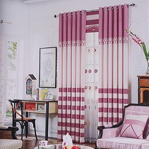 经典紫色条纹卧室窗帘