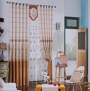 咖色城堡图案卧室窗帘