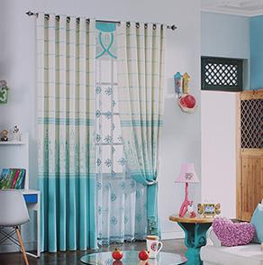经典城堡图案卧室窗帘