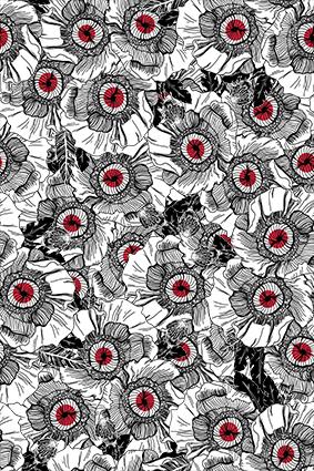 黑色素描点线花卉