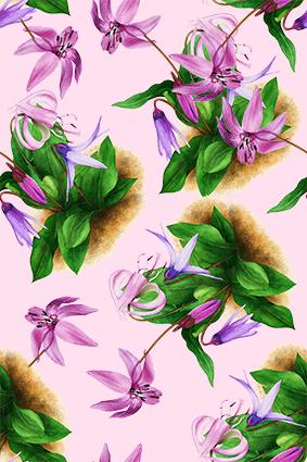 手绘植物油彩花
