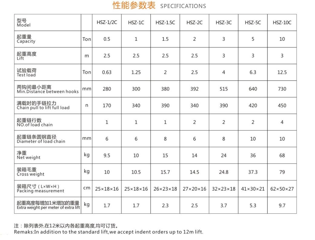 2吨HSZ-C手拉葫芦