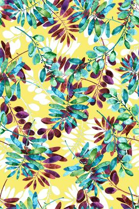 荧光绿叶树丛花
