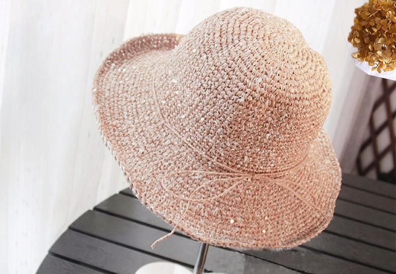 手工金线可折叠草帽-季节潮品