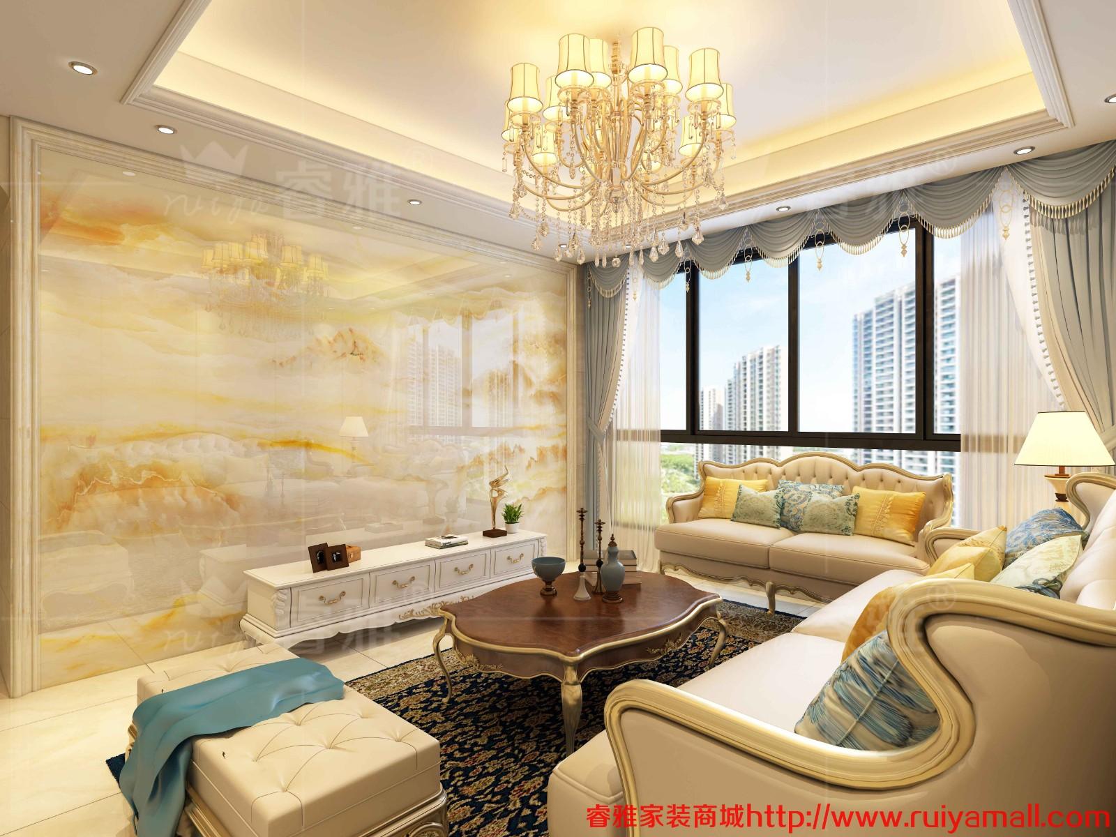 客厅石材背景墙_电视背景墙瓷砖现代简约客厅3D微晶石石材边框装饰造型 - 沙发 ...