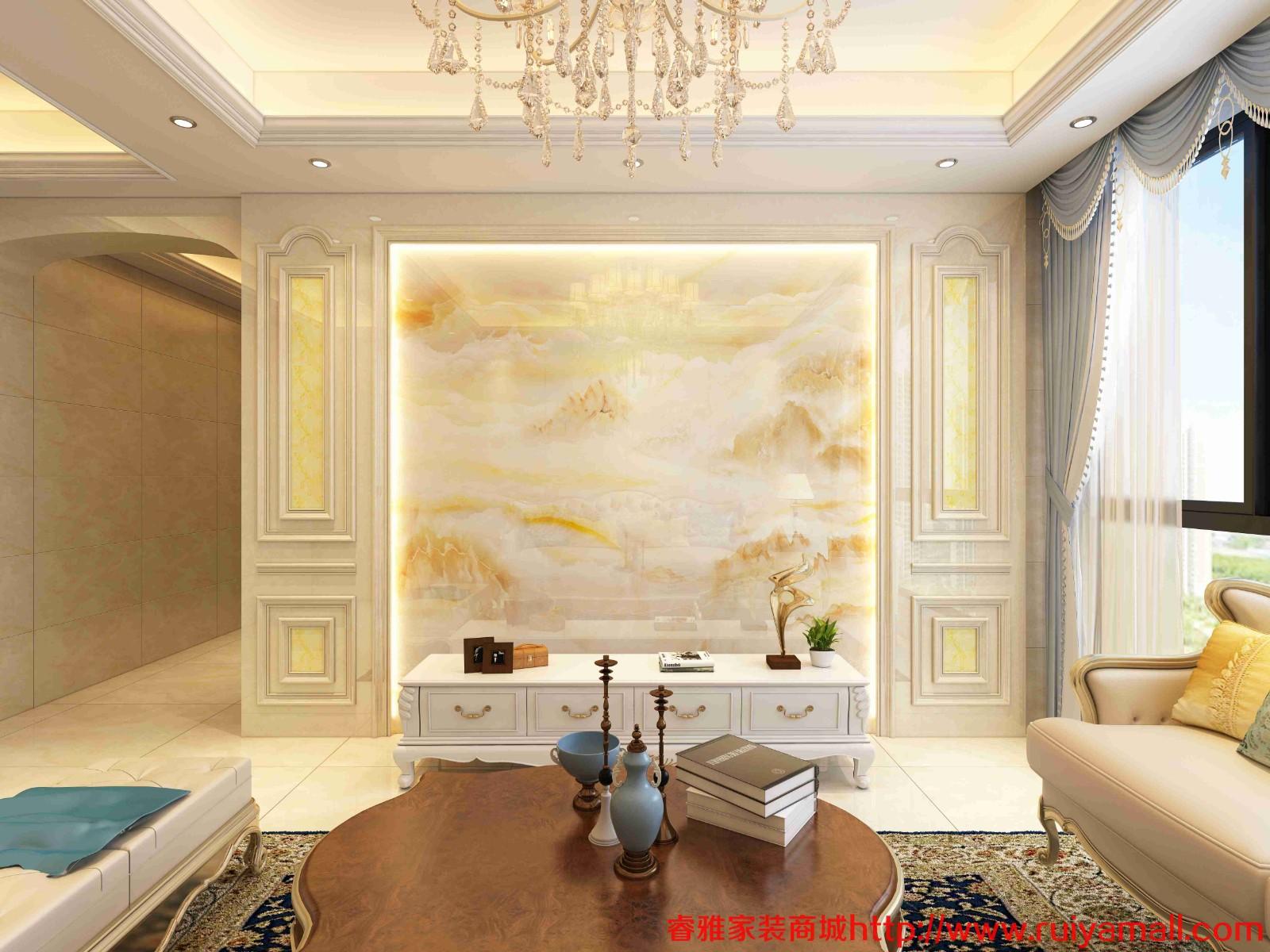 电视背景墙瓷砖现代简约客厅3D微晶石石材边框装饰造型石材护墙板-套餐4