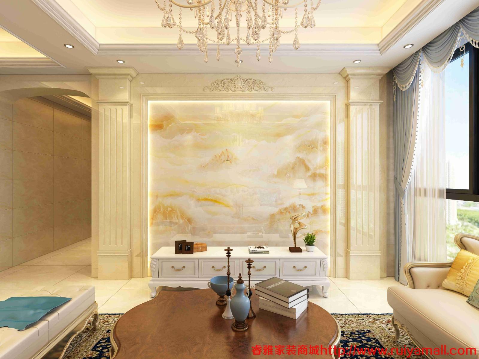 电视背景墙瓷砖现代简约客厅3D微晶石石材边框装饰造型石材护墙板-套餐5